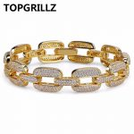 TOPGRILLZ Hip Hop Gold/<b>Silver</b> Color Iced Out Micro Pave CZ Stone <b>Bracelet</b> Copper Cuban Chain Link 15mm <b>Bracelets</b> 20.5cm Long