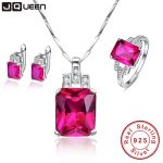 JQUEEN Famous Brand Sterling <b>Silver</b> Jewelry Women Accesssories AAA Ruby Wedding <b>Earrings</b> Necklace Ring Sets with Free Gift Box