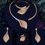 GODKI Flower Lily Luxury Women Wedding Naija Bridal Cubic Zirconia Necklace Dubai Dress <b>Jewelry</b> Set