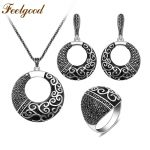 Feelgood Antique Silver Color Jewellery Set New <b>Fashion</b> Black Rhinestone And Enamel Ethnic Vintage <b>Jewelry</b> Sets For Women