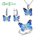 Santuzza <b>Jewelry</b> Set HANDMADE Enamel CZ Stones Butterflies Ring Earrings Pendent Necklace 925 <b>Sterling</b> <b>Silver</b> Women <b>Jewelry</b> Set