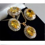 Women's Wedding shipping>>Lovely Sets Yellow crystal pendant Stud earring Ring silver mujer moda silver-<b>jewelry</b>