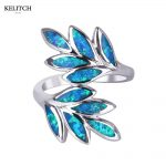 KELITCH Opal Ring <b>Jewelry</b> 1Pcs opal <b>jewelry</b> blue Newest Style Multi-Color Leaf Shape Fire Opal Stone Wedding Ring Set For Women