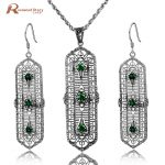 2017 Fashion Jewelry Set Vintage Green CZ Stone for Women Brides 925 Sterling <b>Silver</b> Crystal <b>Earrings</b>&pendant Bridal Jewelry Set