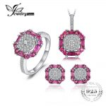 JewelryPalace 3ct Created Ruby Stud Earrings Ring Pendant Necklace Fine <b>Jewelry</b> Sets 925 <b>Sterling</b> <b>Silver</b> 45cm Chain For Women