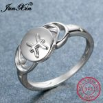 JUNXIN 100% Real 925 Sterling Silver Pisces Rings For Women Personalized Promise Ring Fashion <b>Jewelry</b> <b>Accessories</b> Birthday Gift