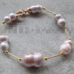 FREE SHIPPING>>>@@ 0749 purple baroque freshwater pearl <b>bracelet</b> -clasp