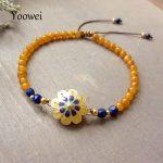 Yoowei Wholesale Amber <b>Bracelet</b> for Women Enamel Design Natural Lapis Lazuli Baltic Round Amber Jewelry Adjustable Strand Bijoux