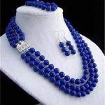 Prett Lovely Women's Wedding 3 rows 8mm lapis lazuli necklace bracelet earring sets