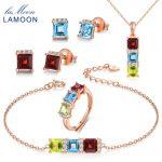 LAMOON Real 925-Sterling-<b>Silver</b> Natural Red Garnet Blue Topaz Green Peridot 5PCS Jewelry Sets for Women Wedding Gift V012-1