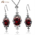 Elegant Handmade Charm Red Stone Crystal Oval Stone 925 Sterling <b>Silver</b> Wedding Party Jewelry Sets Ethiopian Jewelry For Women