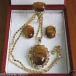 Women's Wedding Tiger Eye Stone Ring Earrings Pendant Set >AAA GP Bridal wide watch q brinco real silver-<b>jewelry</b>