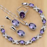 Natural 925 Silver <b>Jewelry</b> Purple Cubic Zirconia White Crystal <b>Jewelry</b> Sets For Women Earrings/Pendant/Necklace/Rings/Bracelet