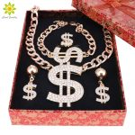 Gold Color Dollar Sign Pendant <b>Jewelry</b> Set Dollar With Rhinestone Pendant <b>Necklace</b> Earrings Ring Bracelet+Gift Boxes