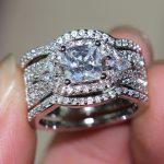 Size5-11 Original Vintage <b>Jewelry</b> <b>Handmade</b> 10KT White Gold Filled Princess Cut AAA Cubic Zirconia CZ Women Wedding Pave Ring Set