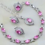925 Sterling <b>Silver</b> Pink Cubic Zirconia White Zircon Jewelry Sets For Women Wedding Earring/Pendant/Necklace/<b>Bracelet</b>/Ring