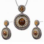 Vintage Tiger Eye White Crystal Zircon Pendant&Earrings 925 Sterling <b>Silver</b> Popular Jewelry Set Pendant&Earrings TT689