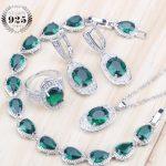 Green Bridal Cubic Zirconia Jewelry Sets Women Costume <b>Silver</b> 925 Jewelry With Earrings Rings <b>Bracelet</b> Pendants& Necklaces Set