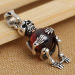 Handmade 925 <b>silver</b> Skeleton Pendant vintage thai <b>silver</b> red zircon skull pendant male <b>necklace</b> pendant punk jewelry gift