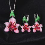 Authentic 925 Sterling Silver Enamel Flower Silver stub Earrings Pendant <b>Jewelry</b> Set For Women Necklace Pendant <b>Fashion</b> <b>Jewelry</b>