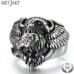 MetJakt Eagle Snake Dispute Solid Real 925 <b>Sterling</b> <b>Silver</b> Ring for Vintage Punk Rock Locomotive Ring for Men <b>Jewelry</b>