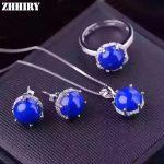 Women Natural blue Lapis Lazuli Gem Stone Jewelry Set 925 sterling <b>silver</b> Necklace Pendant <b>Earrings</b> Ring