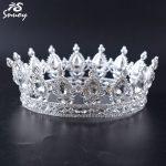 Snuoy Full Round Tiara Crowns Pageant Queen Crown European Bridal Crown Tiaras Luxury Big Crystal Stone <b>Wedding</b> Hair <b>jewelry</b>