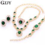 GZJY Fashion Champagne Gold Color Multicolor Zircon <b>Necklace</b> Earring Bracelet Ring <b>Jewelry</b> Set For Women Wedding Anniversary
