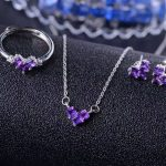 Natural amethyst gem jewelry sets natural crystal ring Pendant <b>Earrings</b> S925 <b>silver</b> Elegant Simple square heart fine jewelry