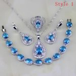 Blue Cubic Zirconia White CZ 925 Sterling <b>Silver</b> Jewelry Sets Earring/Pendant/Necklace/<b>Bracelet</b>/Ring 6 <b>Bracelets</b> Availabled
