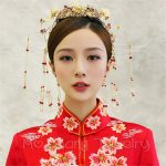Butterfly Bridal Hairband Set Chinese Traditional Bride Flower Headdress Coronet Frontlet Hairpin with Tassel <b>Handmade</b> <b>Jewelry</b>