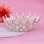 Luxury Silver Color Hair <b>Jewelry</b> Round Rhinestones Wedding Tiaras And Crowns Bridal Quinceanera Pageant Queen Tiara For Bride