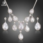AZORA Nobleness Clear Cubic Zirconia Waterdrop Pendant Necklace and Drop Earrings <b>Jewelry</b> Sets TG0151