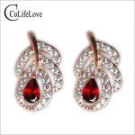 Cute bird feather shape <b>silver</b> <b>earrings</b> fashion solid 925 <b>silver</b> stud <b>earrings</b> natural red garnet <b>silver</b> gemstone stud <b>earring</b>