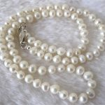 New 7-8mm White Akoya Cultured Pearl Necklace Mother Gift Beads <b>Jewelry</b> <b>Making</b> Natural Stone Rope Chain 18inch(Minimum Order1)