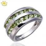 Hutang Natural Peridot Gemstone Solid 925 Sterling <b>Silver</b> Ring Fine Stone <b>Jewelry</b> August Birthstone For Women's Gift New