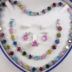 Prett Lovely Women's Wedding shipping> >Multicolor Zircon Link Bracelet/ Earrings /Ring / Necklace Set silver-<b>jewelry</b>
