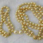 Women's Wedding 2 Rows Gold 8mm Sea Shell Pearl Necklace Bracelet, 12MM BIG Earring Set AA real silver-<b>jewelry</b>