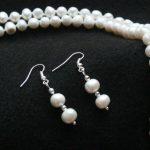 Women's Wedding Fashion <b>Jewelry</b> 7-8mm Freshwater Pearl Necklace Earrings Set 18″ real silver-<b>jewelry</b> earrings