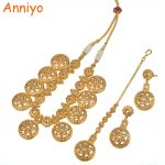 Anniyo Round Ethiopian <b>Jewelry</b> set <b>Necklace</b> With Resizable Rope/Forehead Chain/Earrings for Women Gold Color Arab/Egypt #015123