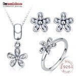 LZESHINE Fashion S925 <b>Silver</b> Jewelry Set Daisy Flower Stud Earrings/Pendant/Ring Set For Women 3pc Charms Jewelry Christmas gift