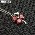 ZHHIRY Women Genuine Natural Garnet Gemstone Solid 925 Sterling <b>Silver</b> <b>Necklace</b> Pendant For Ladies Leaves Shape Fine Jewelry