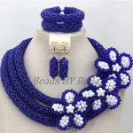 Wholesale Royal Blue Crystal <b>Handmade</b> Nigerian Fashion Beads Flowers African <b>Jewelry</b> Sets Choker Necklace Free Shipping ABK502