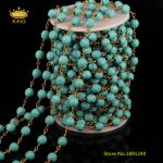 5Meters Lot,8mm Faceted Blue Turquoises DIY Sweater Chains <b>Necklace</b>,Wire Wrapped Plated Brass Rosary Links Chains Bracelet,ZJ-65