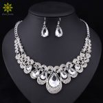Fashion <b>Jewelry</b> Sets White Crystal Silver Plated Necklace Earrings Sets For Brides Party Wedding <b>Accessories</b> Decoration
