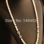 Natural Pearls <b>Necklace</b> 925 <b>Silver</b> Flower Clasp Czech Dia- Mond Long <b>Necklace</b> Women's Pearl Jewelry Top Quality Girl's Best Gift