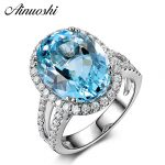 AINUOSHI 5.39ct Big Oval Topaz Halo Ring Genuine Sky Blue Gemstone Topaz Ring 925 <b>Sterling</b> <b>Silver</b> Engagement Ring Women <b>Jewelry</b>