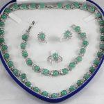 Prett Lovely Women's Wedding Christmas gift true filled Earring Bracelet Necklace Ring AA132 -silver-<b>jewelry</b>