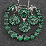 Wedding Costume <b>Silver</b> 925 Jewelry Sets Women Green Zircon Earrings With Stones Rings Pendant&Necklace <b>Bracelets</b> Set Gift Box