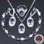 Purple Cubic Zirconia White CZ 925 <b>Silver</b> Bridal Jewelry Sets For Women Wedding Earrings/Pendant/Necklace/<b>Bracelet</b>/Ring